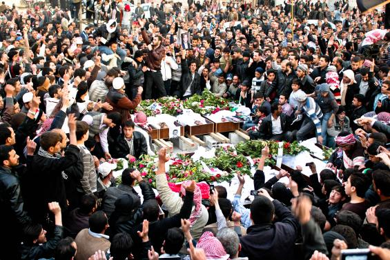 A martyr's funeral in Duma, close to Damascus, Syria