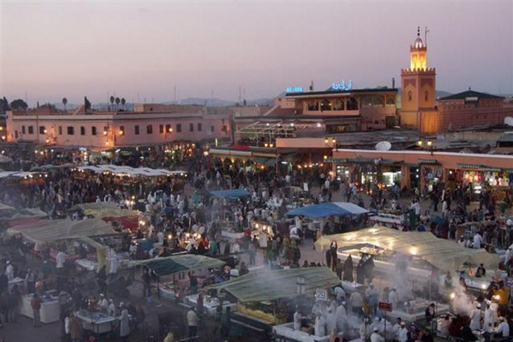 Argana cafe and Yemaa el Fna square in Marrakesh