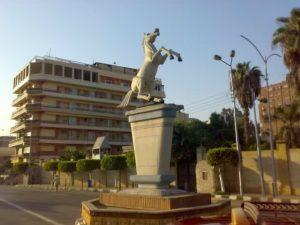 White horse statue in Shaibet an Nakareyah Markaz El-Zakazik Ash Sharqia Governorate